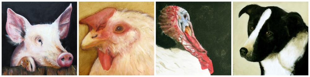 Penny, Thelma, Ernie & Banjo - Portraits by Gabriola artist Sheila Norgate