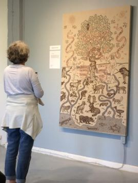 """Chaos, Flow, Meanders"" by Heather Cameron, hand embroidery on linen, 44x68"""